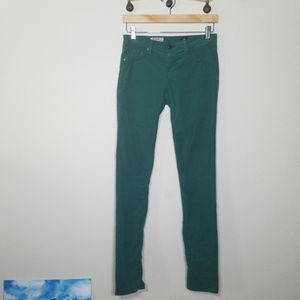 AG Teal Forest Green Skinny the Legging Corduroy